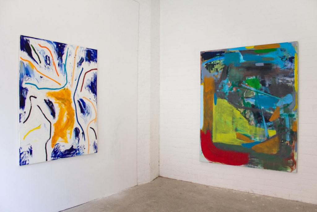 Exhibition view: Botschaft in den Uferhallen, Berlin 2017. Left; Robert Gfader, Right; Michael Markwick