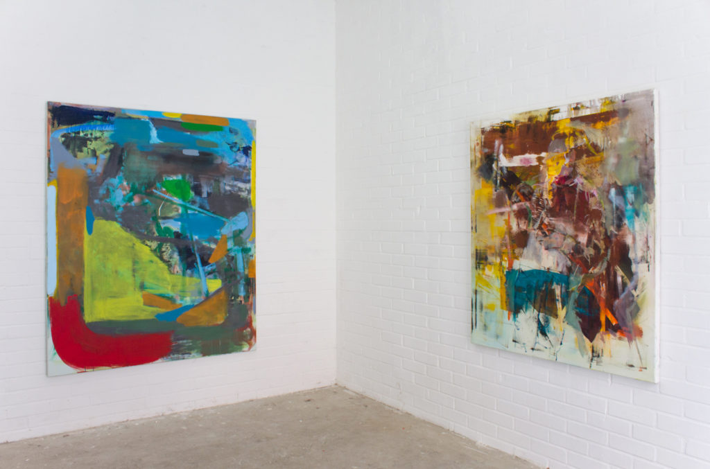 Exhibition view: Botschaft in den Uferhallen, Berlin 2017. Right; Michael Markwick, Left; Robert Muntean