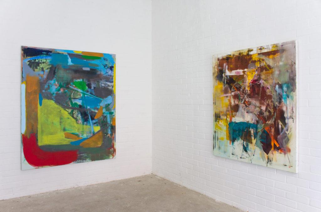 Exhibition view: Botschaft in den Uferhallen, Berlin 2017. Right; Michael Markwick, Left; Robert Muntean